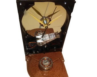 Geek Gift? Computer Hard Drive Clock, Copper Motor Winding & Spindle Accent, unique Gadget.