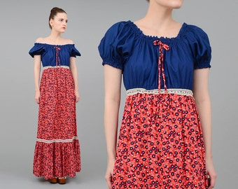 Vintage 70s Calico Floral Maxi Dress - Empire Waist Puff Sleeve Hippie Prairie Cotton Dress - Red Navy Extra Small XS S