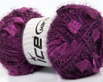 Ice Angelo #41302 Grape Purple Metallic Butterfly Eyelash Yarn LG 100gr skein 109 yards