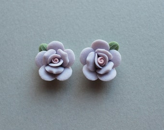 Vintage Porcelain Flowers - Handmade Japanese Bisque Periwinkle Lavender Flower Rose Bud Cabochons 15mm