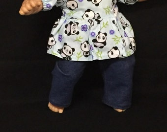 15 Inch Doll Outfit, Handmade to Fit Like American girl bitty baby, Panda Bear Shirt Pants and Headband