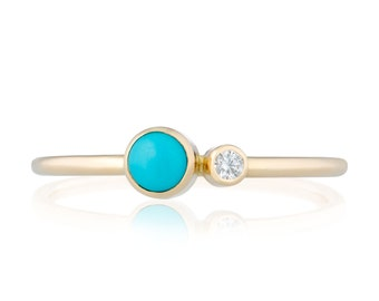 Turquoise Diamond Ring, Turquoise December Birthstone Ring, 14K Gold Turquoise and Canadian Diamond Ring, Gift for Her, December Birthstone