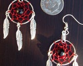 ON SALE Dream catcher earrings in red and silver with black onyx, red dreamcatcher earrings with onyx, dream catcher earrings