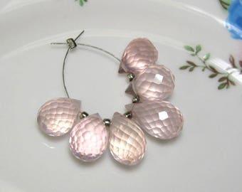 6 Beads Set - High Quality ROSE QUARTZ Faceted Teardrop Briolettes