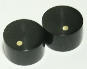 Set of 2 Ebony Guitar Knobs with Brass Dot Indicator (7/8 dia x 5/8 height)