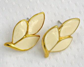 Trifari Stud Earrings Vintage Signed Jewelry White Enamel Leaves