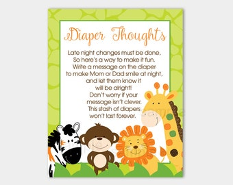 Diaper Thoughts Game | Bright Jungle Safari Animals | Late Night Diapers Boy Baby Shower Game INSTANT DOWNLOAD bs-015