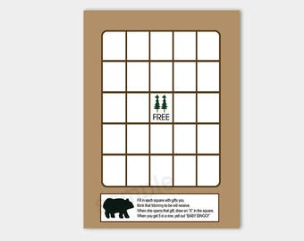 Rustic Bear Baby Shower Bingo Game | Cabin Lodge Shower Games | INSTANT DOWNLOAD bs-070