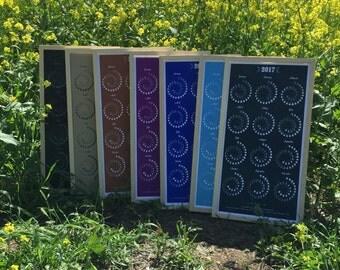FRAMED 2017 Moon Calendar (Large) - SILKSCREEN PRINT  in Handmade Sugar Pine Frame