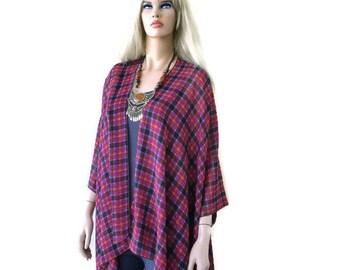 Kimono/ Kimono cardigan-Tartan plaid chiffon-Fuchsia,orange and dark brown chiffon kimono-ruana-  summer collection-Women Kimonos