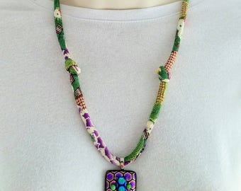 On Sale! Etched Dichroic Fused Glass Pendant on Japanese Chirimen Cord