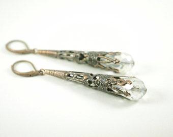Copper Earrings Clear Steampunk Victorian Style Antiqued Dangle Earrings