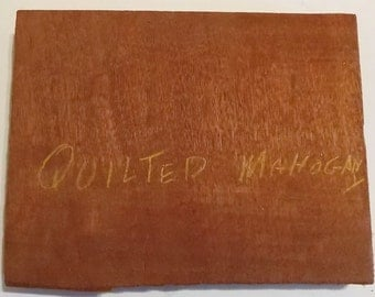 """Quilted Mahogany Wood, 9 3/4"""" x 7 1/2"""" x 7/8"""", Old Wood, Woodworking, Craft Wood, Make Barrettes, Pens, Earrings, Pins, Inlays,Knife Handles"""