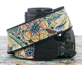 dSLR Camera Strap, Floral Abstract,  pocket, Canon, Nikon, SLR,  154 a