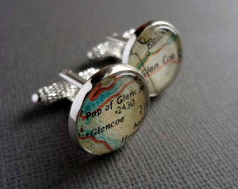 Unique Gift Idea for Men, Guy Gift, Silver Map Cufflinks