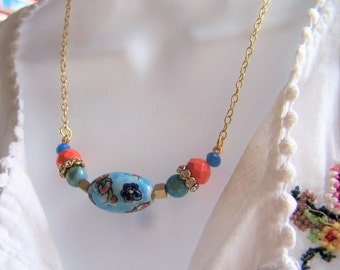 Boho bead necklace, beaded necklace, dainty necklace, handmade necklace, colorful bead necklace, gift for her, boho pendant necklace