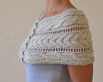 Cable knit lace shoulderette shrug oatmeal wrap gift for her Christmas womens scarf gift for friend gift under 45