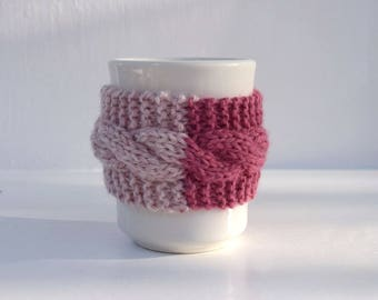 2 color cup cozy cable knit light pink rose knit mug cosy brown button reusable knitted cozy Christmas gift for friend gift under 10