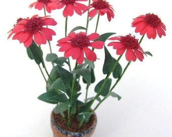FLOWER KIT Red ECHINACEA Paper miniature flower dolls house garden Scrapbook card-making