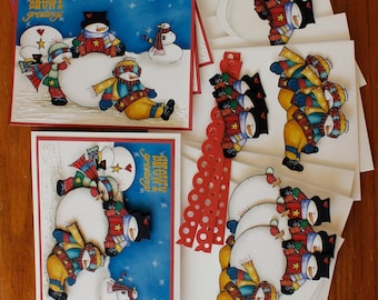 Hand Made Snowy Greetings, Building A Snowman, Any Occasion Winter - 4 Card Kit.