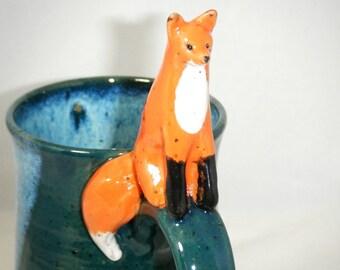 Fox Mug Red Fox Cup Spruce Green Blue Forest
