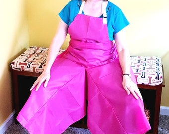 Pottery Apron Split Leg Panel Hot Pink Magenta Nylon Basic