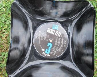 "Billy Idol Genuine Vintage 33rpm Upcycled LP Record Bowl featuring  ""Rebel Yell""  on Chrysalis Records"