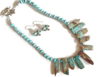Aqua Terra Jasper Set  Aqua Terra Statement Jewelry Turquoise Magnesite Jewelry Set