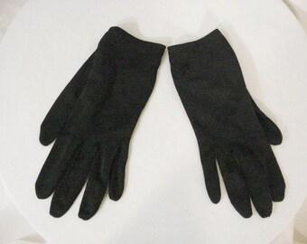 Black Wrist Gloves Steampunk Goth Glam Chic Womens Accessory size 7 - 8