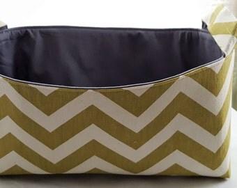 Long Diaper Caddy Storage Container Basket Fabric Organizer Bin - Nursery Decor - Chevron Green Zig Zag