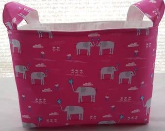 Organizer Storage Basket Bin Fabric - Elephant Showers Elephants Pink