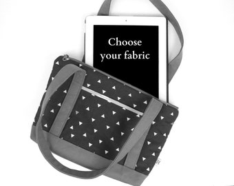 Tablet Tote - Choose your fabric - handbag, zipperbag, shoulder bag, ipad tote, kindle tote, purse
