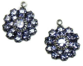 Rhinestone Flower Large Tanzanite Purple Swarovski Crystal in antique silver setting