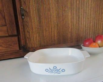 Large Corning Ware Cornflower Casserole A-10-B – 2.5 QT Square Casserole – No Cover – Vintage Corning Ware Bakeware – 1970s Kitchenalia