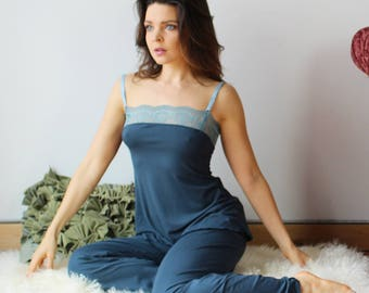 womens bamboo pajama set with camisole and lounge pant - ICON - made to order