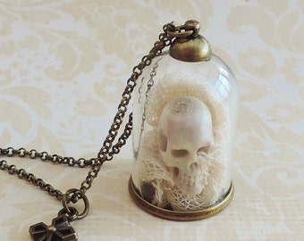 Carved skull vial necklace -Curiosity -Skull necklace- gothic steampunk jewelry - glass jar necklace -reliquary - gothic victorian