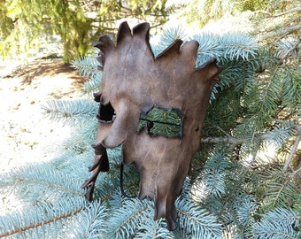 Brown Tree Bark Split Leather Mask