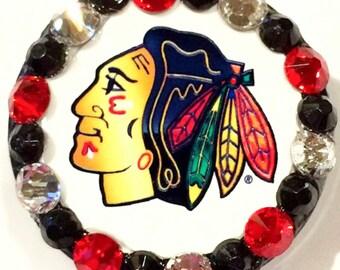 Chicago Blackhawks Indian Head & Swarovski Crystal Embellished ID Badge Reel