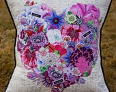 MarveLes PATTERN HEART Pillow COLLAGE for Floral  Home Decor Decorative Pillow Pastel Flowers