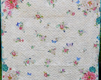MarveLes DIGITAL PATTERN Tell Me a Story Lap or Twin Size Quilt Children Floral Collage Home Decor