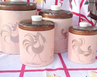 Pink Ransburg vintage metal 4 kitchen canister set with rooster design.  Vintage kitchen canisters. Vintage canisters.