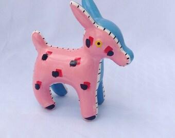 Vintage pink and blue patchwork donkey figurine. Ceramic. Knick knack.