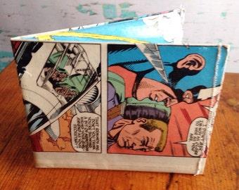 Captain America super hero comic book vinyl wallet.  Handmade from vintage comic books. DC comics.