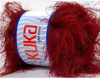 SUPER SOFT FUR red ice yarns 100gr 5 Bulky Chunky Craft Rug 87 yrds ships from usa connecticut 35179
