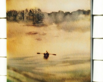 Watercolor painting, ART, My Maine On A Foggy Day, 18 X 24  archival print on canvas, watercolor art, rowboat at sea,