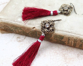 Red Tassel Earrings, Silk Tassel Earrings, Filigree Earrings, Fringe Earrings, Holiday Earrings, Rhinestone Earrings