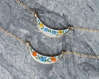 Colorful Small Enamel Necklace, Layering Necklace Set, Wedding Jewelry, Small Vintage Bib Choker