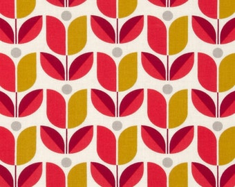 SALE - 1 yard - Tulip in poppy, Flora collection by Joel Dewberry