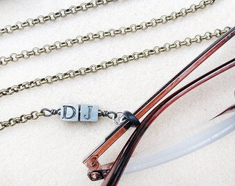 Eyeglass Chain Personalized with Initials or Name, Aged Brass Rolo Chain, Men or Women, Unisex, Sturdy, Handmade Eyeglasses Leash Jewelry