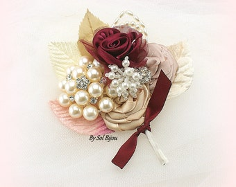Groom Boutonniere,Burgundy,Rose,Champagne,Ivory,Corsage,Brooch Boutonniere,Mother of the Bride,Groomsmen,Vintage,Gatsby,Pearls,Crystals